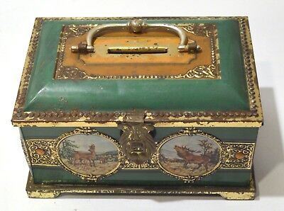 Vintage Austrian (Wien) Tin Bank with Latching Lid and Wildlife Scenes