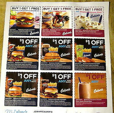 6 Sheets Of Culver's  Coupons Exp 8/18/2019 Ships Immediately