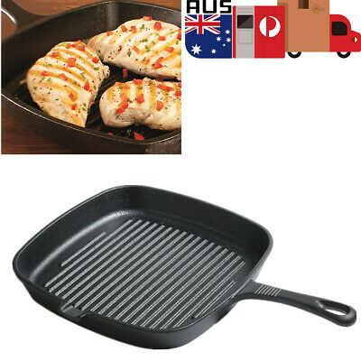 Cast Iron Square Grill Pan Non Stick Steak Frying Pan for Electric/Gas Stove Top