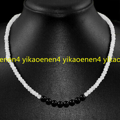 Natural Faceted White Jade & Round 6mm Black Agate Gemstone Beads Necklace 18''