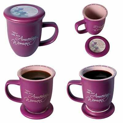 Amazing Woman Mug & Coaster/Lid Ceramic LARGE 14 OZ Coffee Or Tea C Dusky PURPLE
