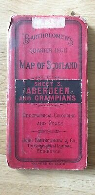 Bartholomew's Quarter Inch To a Mile Scotland Cloth Map. Aberdeen & Grampians #3