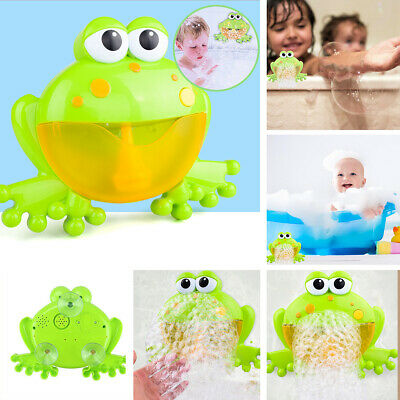 Funny Kid Baby Shower Frog Automatic Bubble Machine Blower Maker Bath Music Toy