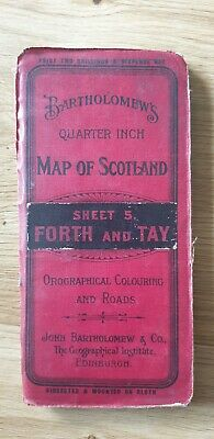 Bartholomew's Quarter Inch To a Mile Scotland Cloth Map. Forth and Tay. Sheet 5.