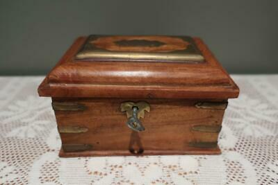 Vintage Wooden Box With Key - Brass decoration & Corners - Collectable - Vgc