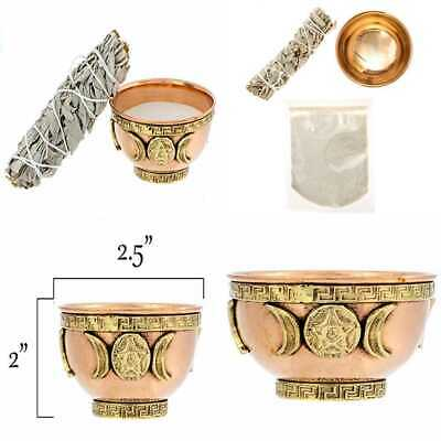 Triple Moon Goddess W Pentacle Copper Offering Bowl Kit. Includes Home