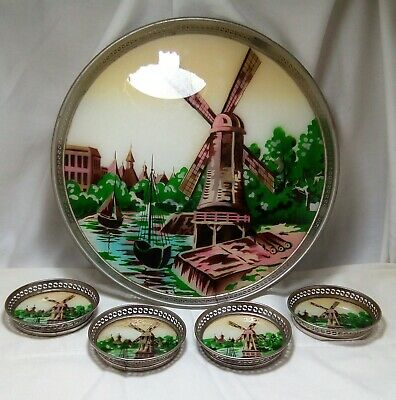 Vintage Porcelain Glass Tray & 4 Coasters Hand Painted Windmill Scene Metal Rim
