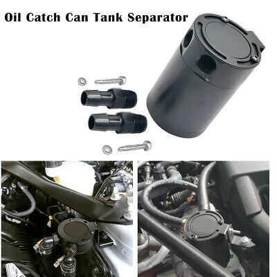 300ml Oil Catch Breather Can Universal Baffled Aluminum Reservoir Tank Black UK