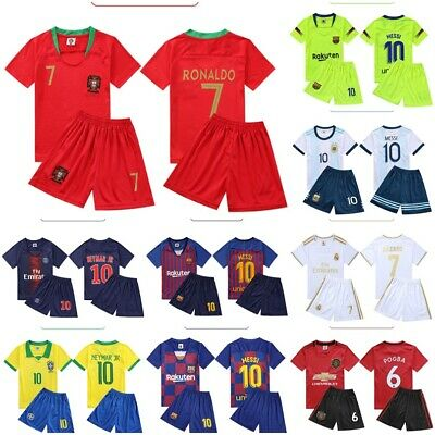 Kids Football Full Kits Youth Uniforms Boys Home/Away Kits Soccer Suits 2-13Y