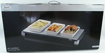 "Swan XXL Cordless Warming Tray In Box 28""x13"" Catering Electronic Hot Plate USED"