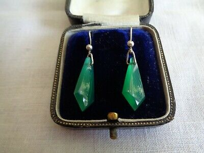 A Pair Of Vintage Art Deco Silver & Chrysoprase Drop Earrings