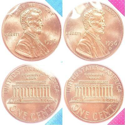 1996 P D Lincoln Memorial Cent BU US Mint Cello 2 Coin Penny Set