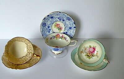 Lot of 3 Paragon Royal Stafford Bone China Tea Cups & Saucers
