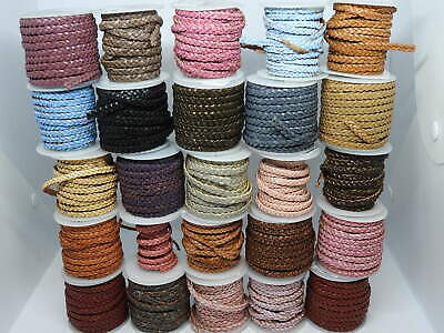 Real Braided Flat Choti Leather Cord 5mm String Lace Thong for Jewellery making