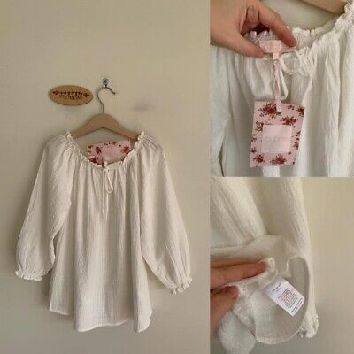 Sz 6 Aubrie Ivory Crinkle Cotton Peasant Smock Top