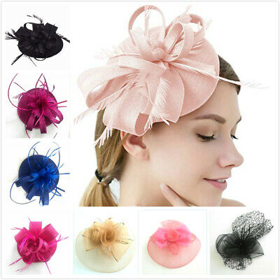Wedding Fascinator Hat Feather  Fancy Headpiece Clip Cocktail Party Horse Racing