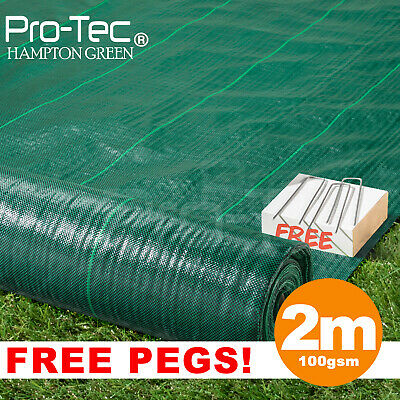 2m green 100gsm weed control fabric ground cover membrane landscape garden mulch