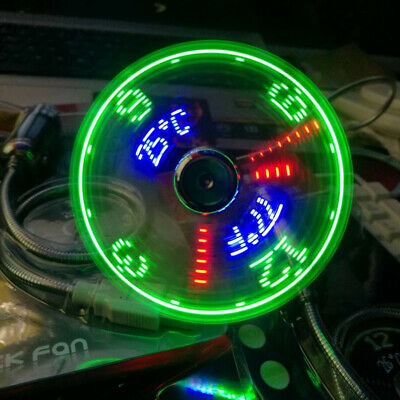USB Fans Time Temperature Display Gift LED Light Cool Gadget Laptop PC Computer