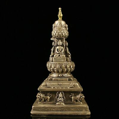"""7"""" Chinese old antique copper handmade silvering gilt four face Pagoda statue"""