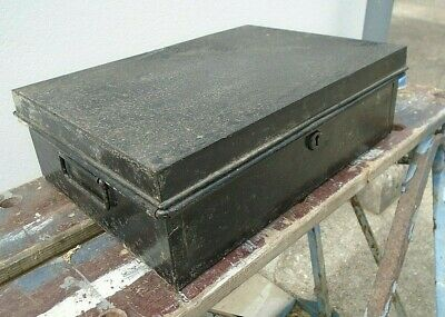 Small Antique Black Metal Deed Storage Box Keepsake Hobby Craft Chest Vintage