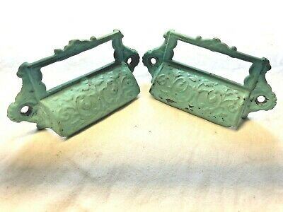 2 Antique Eastlake Ornate Cast Iron Apothecary Bin Pulls Drawer Handles
