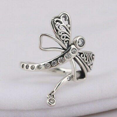 925 Sterling Silver Dreamy Dragonfly Clear CZ Ring Size 5 6 7 8 9