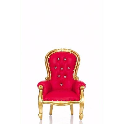 """""""Cinderella 31"""" Mini Princess Royal Throne Chair For Kids - Red / Gold"""
