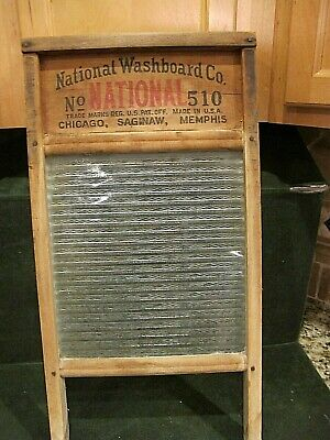 NICE ...Antique National 510 Laundry Washboard Ribbed Glass Chicago 24""