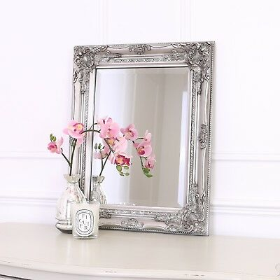 Rhone Rectangle Wall Mirror - French Ornate Shabby Chic- 42x53cm -Antique Silver