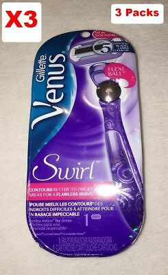 Gillette Venus Swirl Reusable Razor In Purple Flexi Ball BN 3 Packs NIB