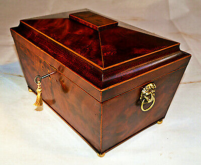 Georgian Sarcophagus shaped Fitted Sewing Box with Key, circa 1810