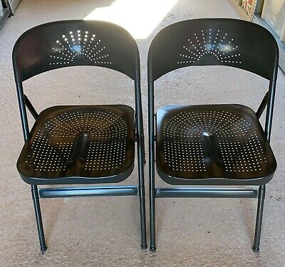 Cool Ikea Frode Dark Grey Folding Metal Chairs Pair 7 99 Lamtechconsult Wood Chair Design Ideas Lamtechconsultcom
