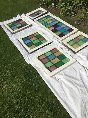 6 x Antique stained glass leaded windows