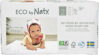Eco by Naty - Premium Disposable Nappies for Sensitive Skin, Size 2, 4 Packs of