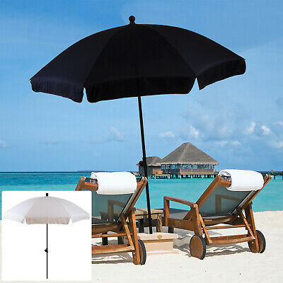 1.9M Beach Umbrella Garden Outdoor Patio Parasol Sunshade Protection Black Cream