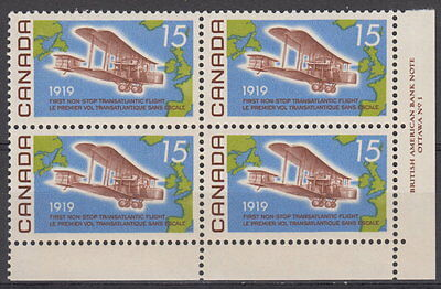 CANADA #494 15¢ Alcock-Brown Flight LR Plate Block MNH