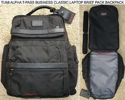 Tumi Alpha T-Pass Business Classic Laptop Brief Pack Backpack 26578D2 Black