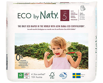 Naty by Nature Babycare Size 5 ECO Pull On Pants - 4 x Packs of 20 80 Count