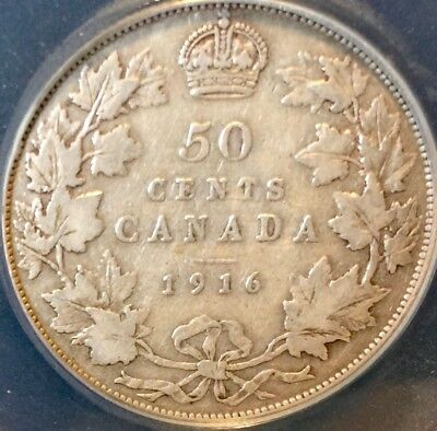1916 Fifty 50 CENT coin CANADA .925 Silver King George V nice excellent date