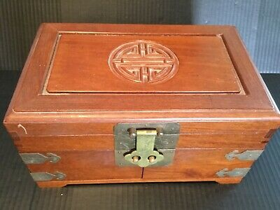 Vintage Wooden Carved Asian Chinese Oriental Jewelry Box