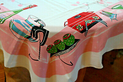 Vintage Tablecloth Kitsch Vines Pink Red Green Black Early
