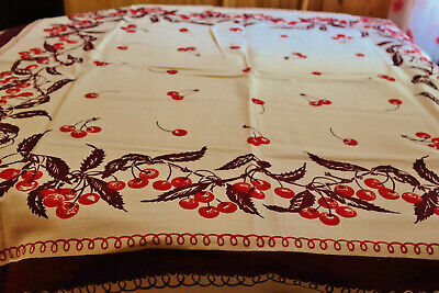 Vintage Tablecloth Cherry Motif Never Used Old Stock