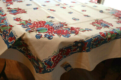 Vintage Fruit Tablecloth Mlico Hand Printed Never Used Old Stock Orig Label