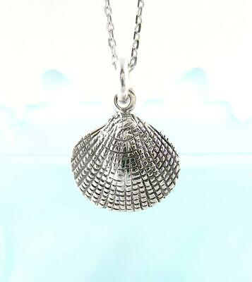 Clam Seashell Necklace Ocean Sea Life Beach Shore Surfer Sterling Silver wh277