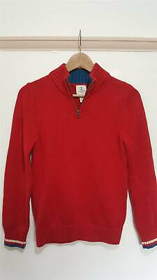 Lands' End Kids Red Zip Up Neck Pullover Jumper 100% Cotton Size 10-11 Years