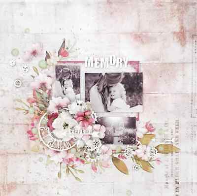 "Handmade Pre Made 12"" x 12"" Scrapbook Page - Memory Captured"