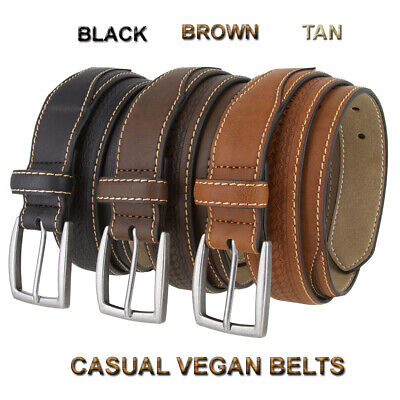 """Mens Vegan Casual Stitched Belt With Antique Buckle And Basketweave 1-1/2"""" New"""