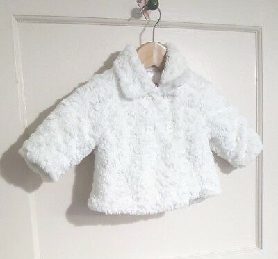 Baby Girls M&S White Fluffy Faux Teddy Bear Fur Coat Jacket Age 3-6 Months Warm
