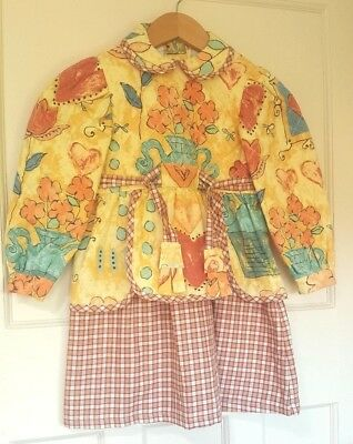 Vintage Girls Floral Pots Long Sleeve Quilted Dress Outfit Skirt Size 3-4 Years