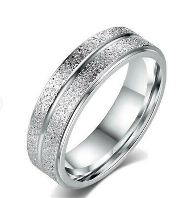 Silver Stainless Steel Titanium Wedding Engagement Woman Men Band Ring Size 6-13